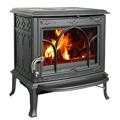 Jotul F100 Multifuel Stove Enamel Blue/Black Tracery Glass Door