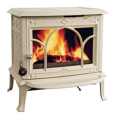 Jotul F100 Multifuel Stove Enamel Ivory Tracery Glass Door