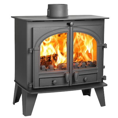 Parkray Consort 9 Slimline Multifuel Stove Black Double Doors
