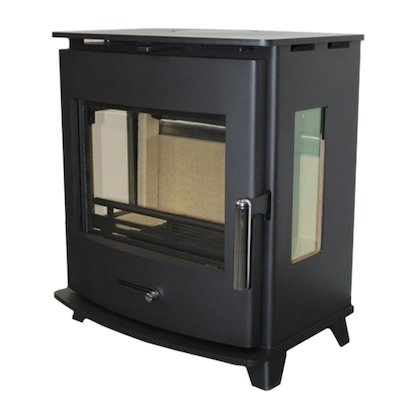 Pevex Newbourne 40FS Multifuel Stove Black Side Glass Windows