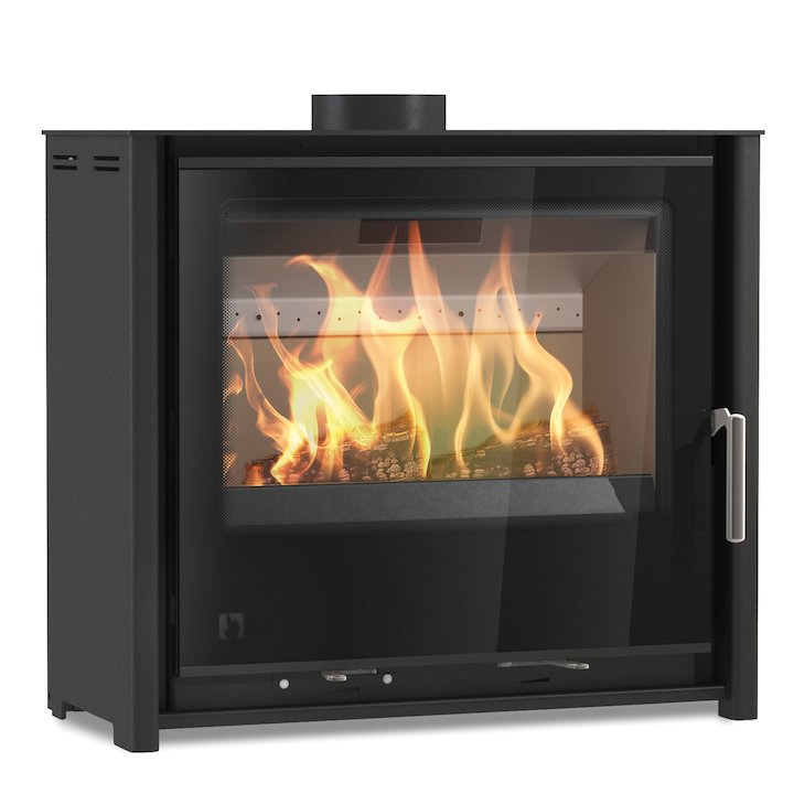 Arada i600 Slimline Low Multifuel Stove Midnight Black Black Glass Framed Door Black Trim - Midnight Black