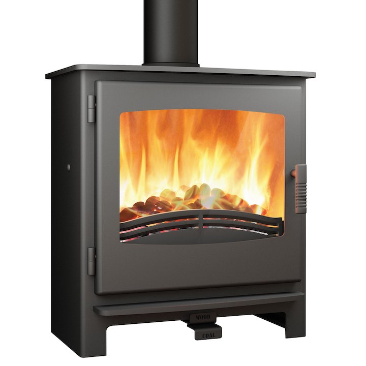 Broseley Evolution Desire/Ignite 7 Multifuel Stove Black Steel Door - Black