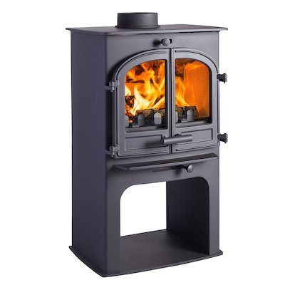 Cleanburn Lovenholm Logstore Multifuel Stove Black Double Doors