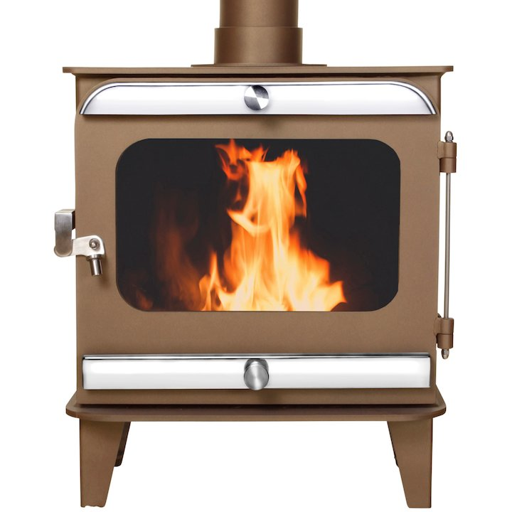 Firestorm 10 Multifuel Stove Honey Glow Brown Polished Stainless Trim - Honey Glow Brown