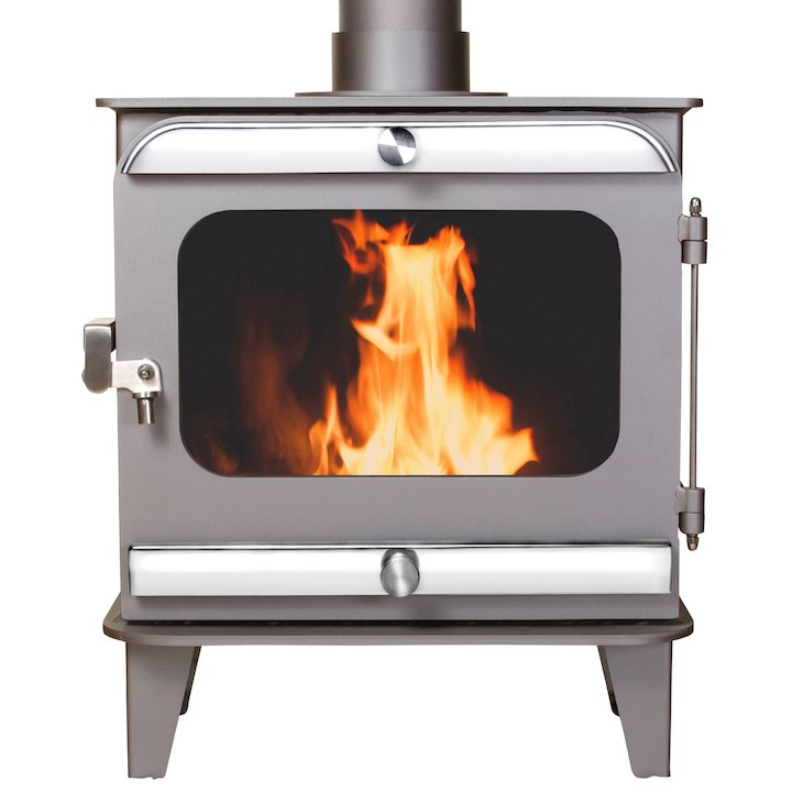 Firestorm 10 Multifuel Stove Metallic Brown Polished Stainless Trim - Metallic Brown