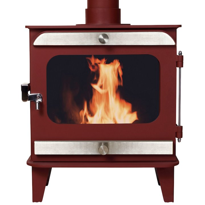 Firestorm 10 Multifuel Stove Mojave Red Brushed Stainless Trim - Mojave Red