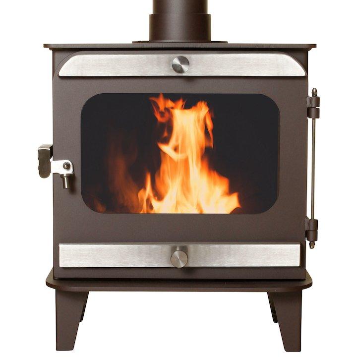 Firestorm 10 Multifuel Stove Metallic Rich Brown Brushed Stainless Trim - Metallic Rich Brown