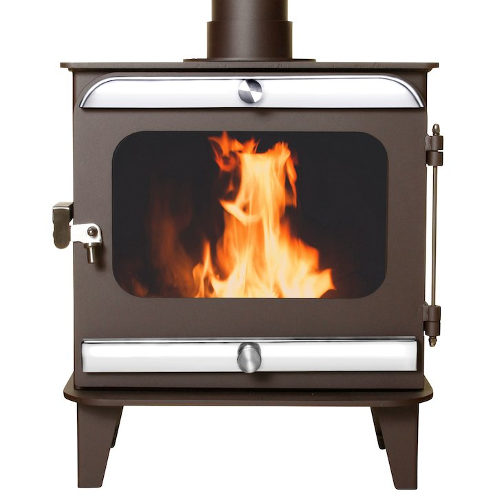 Firestorm 10 Multifuel Stove Metallic Rich Brown Polished Stainless Trim - Metallic Rich Brown