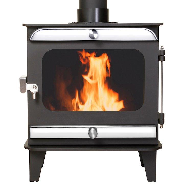 Firestorm 4.5 Multifuel Stove Black Polished Stainless Trim - Black