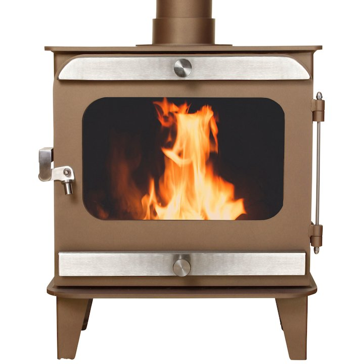 Firestorm 4.5 Multifuel Stove Honey Glow Brown Brushed Stainless Trim - Honey Glow Brown