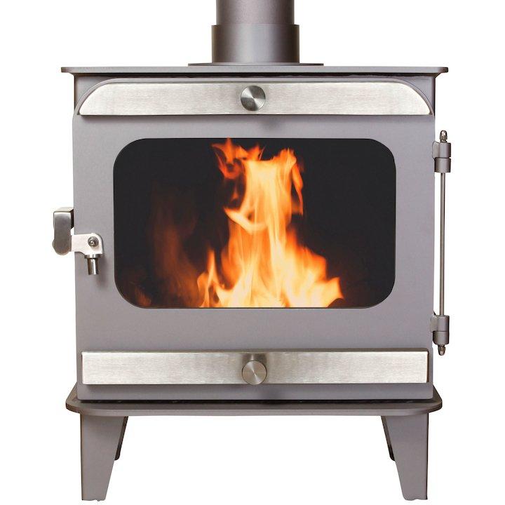 Firestorm 4.5 Multifuel Stove Metallic Brown Brushed Stainless Trim - Metallic Brown