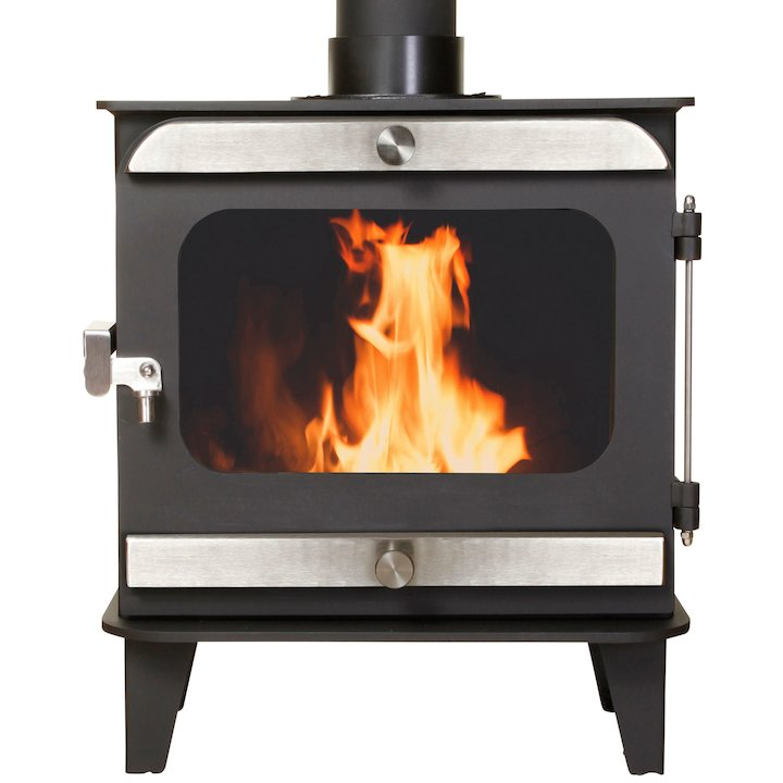 Firestorm 6.5 Multifuel Stove Black Brushed Stainless Trim - Black