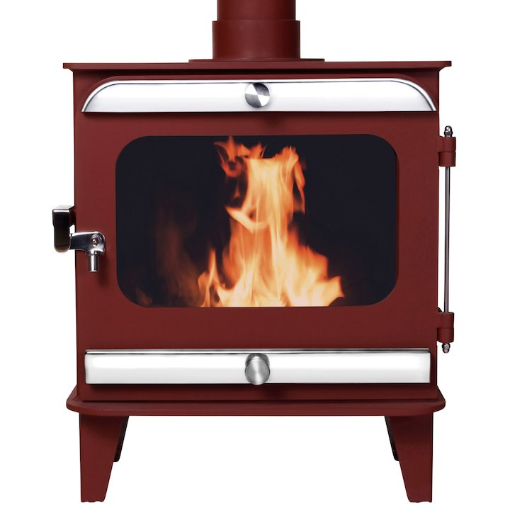 Firestorm 6.5 Multifuel Stove Mojave Red Polished Stainless Trim - Mojave Red