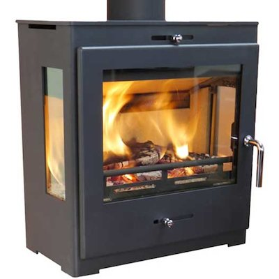 Pevex Bohemia X40 Cube Multifuel Stove Black Side Glass Windows