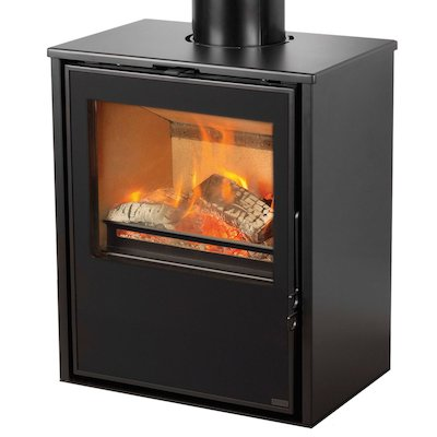 Pevex Serenity 50 Logstore Multifuel Stove Black Logstore with Door Ridiling Grate