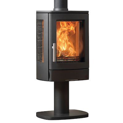 ACR Neo Pedestal Multifuel Stove Black Side Glass Windows