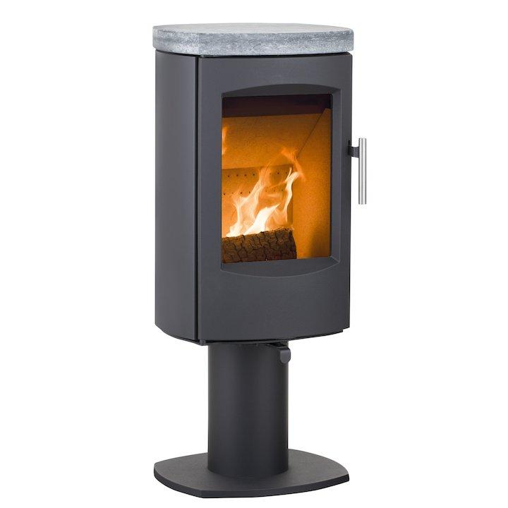 Heta Scanline 7D Multifuel Stove Black Fixed Pedestal Soapstone Top Plate - Black