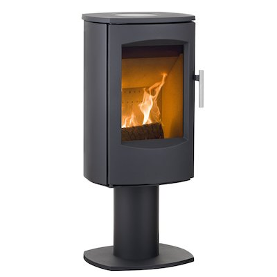 Heta Scanline 7D Multifuel Stove Black Fixed Pedestal Steel Top Plate