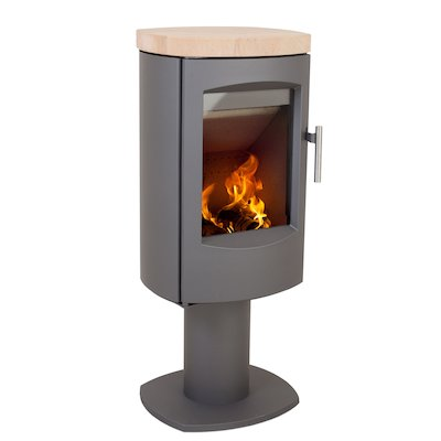 Heta Scanline 7D Multifuel Stove Grey Fixed Pedestal Sandstone Top Plate