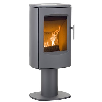 Heta Scanline 7D Multifuel Stove Grey Fixed Pedestal Steel Top Plate