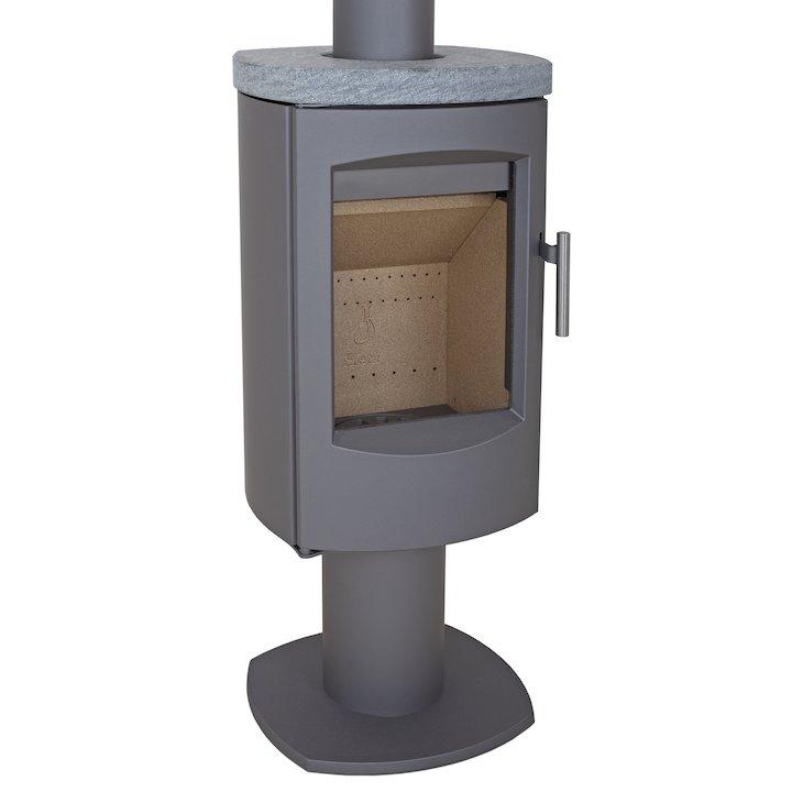 Heta Scanline 7D Multifuel Stove Grey Rotating Pedestal Soapstone Top Plate - Grey