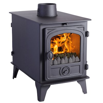 Hunter Hawk 4 Double Sided Multifuel Stove - Double Depth Black Contemporary Door