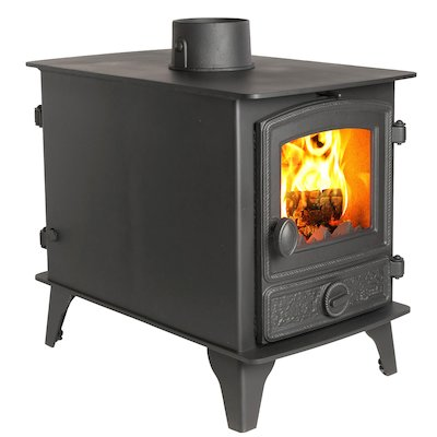 Hunter Hawk 4 Double Sided Multifuel Stove - Double Depth Black Rope Effect Door