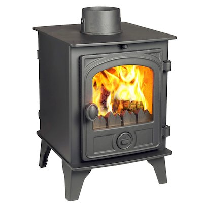 Hunter Hawk 4 Double Sided Multifuel Stove Black Contemporary Door