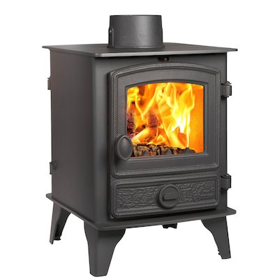 Hunter Hawk 4 Double Sided Multifuel Stove Black Rope Effect Door