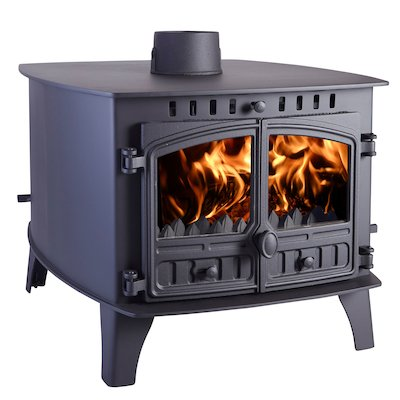 Hunter Herald 14 Double Sided FT Multifuel Stove - Double Depth Black Double Doors