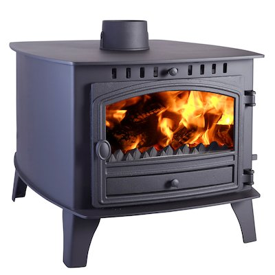 Hunter Herald 14 Double Sided FT Multifuel Stove - Double Depth Black Single Door