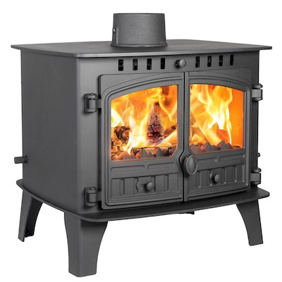 Hunter Herald 14 Double Sided FT Multifuel Stove Black Double Doors