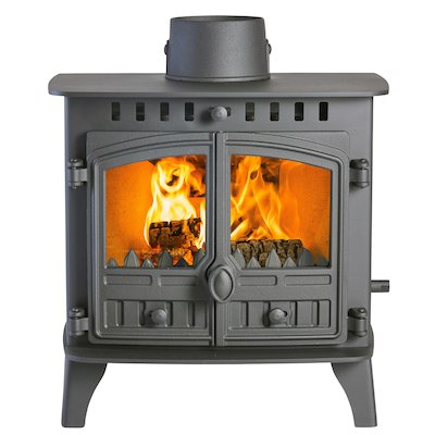 Hunter Herald 6 Double Sided FT Multifuel Stove - Double Depth Black Double Doors