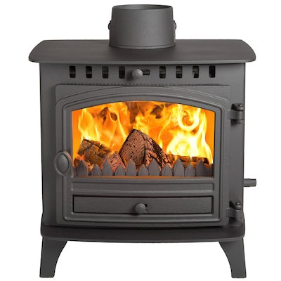 Hunter Herald 6 Double Sided FT Multifuel Stove - Double Depth Black Single Door