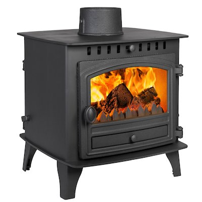 Hunter Herald 6 Double Sided FT Multifuel Stove Black Single Door