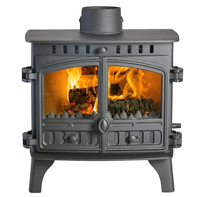 Hunter Herald 8 Double Sided FT Multifuel Stove - Double Depth Black Double Doors