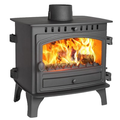 Hunter Herald 8 Double Sided FT Multifuel Stove Black Single Door