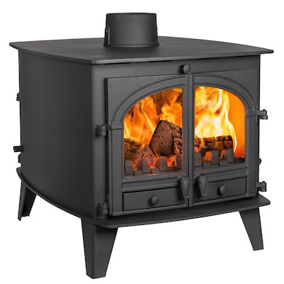 Parkray Consort 9 Double Sided Multifuel Stove - Double Depth Black Double Doors