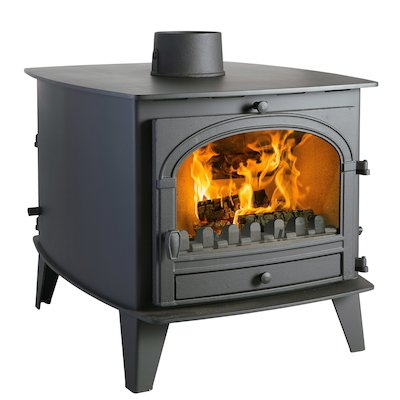 Parkray Consort 9 Double Sided Multifuel Stove - Double Depth Black Single Door