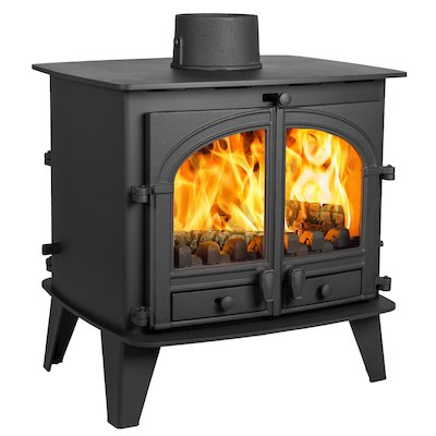 Parkray Consort 9 Double Sided Multifuel Stove Black Double Doors