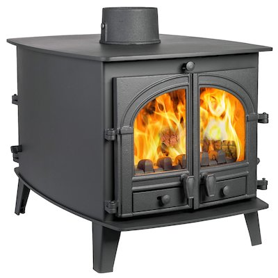 Parkray Consort 7 Double Sided Multifuel Stove - Double Depth Black Double Doors