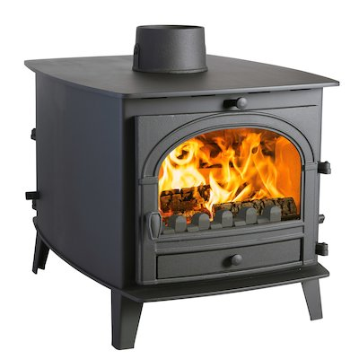 Parkray Consort 7 Double Sided Multifuel Stove - Double Depth Black Single Door