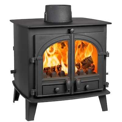 Parkray Consort 7 Double Sided Multifuel Stove Black Double Doors