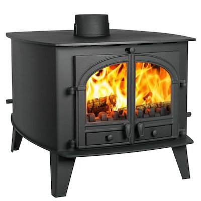 Parkray Consort 15 Double Sided Multifuel Stove - Double Depth Black Double Doors