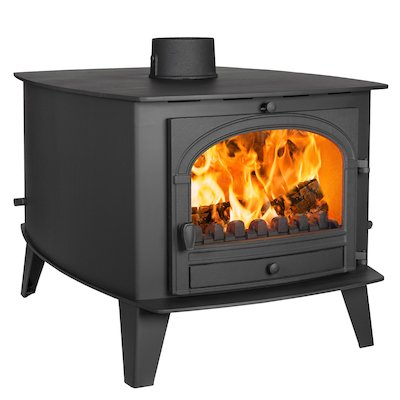 Parkray Consort 15 Double Sided Multifuel Stove - Double Depth Black Single Door