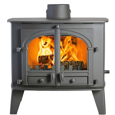 Parkray Consort 15 Double Sided Multifuel Stove Black Double Doors