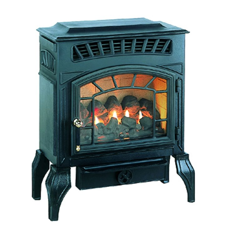 Burley Esteem Flueless Gas Stove Black Natural Gas Coal Effect - Black