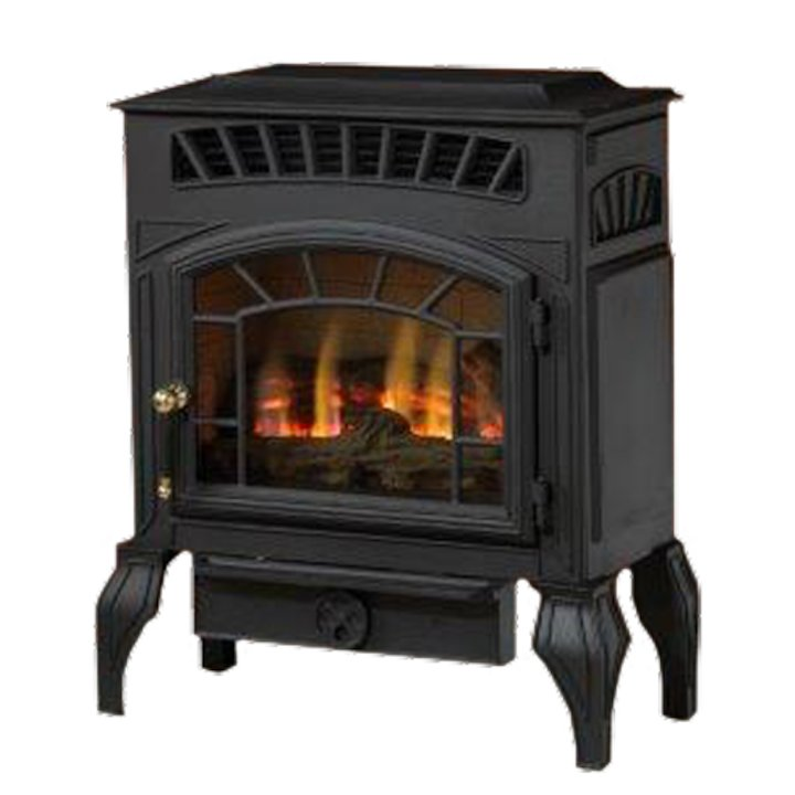 Burley Esteem Flueless Gas Stove Black Natural Gas Log Effect - Black