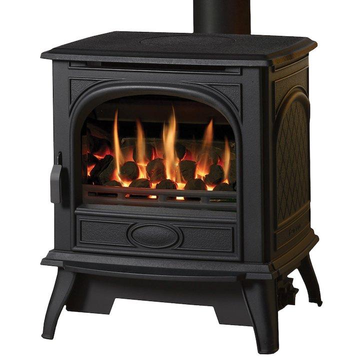 Dovre 280 Conventional Flue Gas Stove - Coals - Black