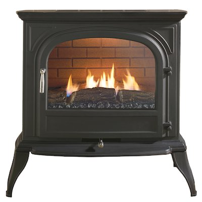 Ekofires 6010 Flueless Gas Stove Black Clear Glass Door
